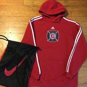 Boys Adidas Chicago Fire Hoodie Sweatshirt